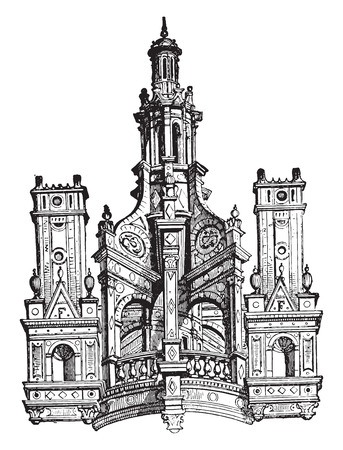 chambord: Lantern from Chambord Castle, vintage engraved illustration. Industrial encyclopedia E.-O. Lami - 1875. Illustration