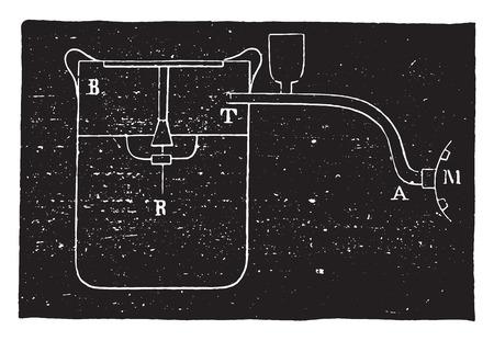 reservoir: Inner vertical section of the regulator reservoir, vintage engraved illustration. Industrial encyclopedia E.-O. Lami - 1875.