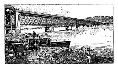 Truss bridge, road and rail, to Viana, Portugal, vintage engraved illustration. Industrial encyclopedia E.-O. Lami - 1875.