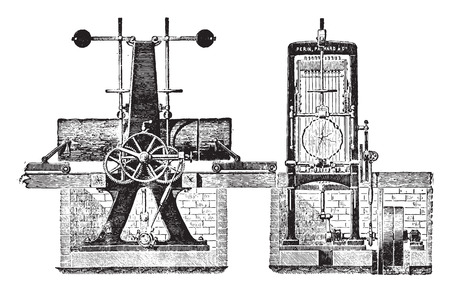 reciprocate: Vertical reciprocating saw blade with a several truck for logs, vintage engraved illustration. Industrial encyclopedia E.-O. Lami - 1875. Illustration