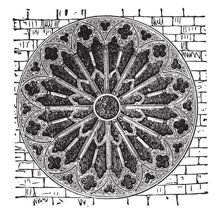 Rose de la cathédrale de Reims, au XIIIe siècle, illustration vintage gravé. E.-O. encyclopédie industrielle Lami - 1,875. Banque d'images - 41783037