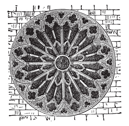 reims: Rose of the Reims cathedral, the thirteenth century, vintage engraved illustration. Industrial encyclopedia E.-O. Lami - 1875.