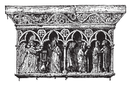 Ornamental details cloister Elne, Pyrenees-Orientales, vintage engraved illustration. Industrial encyclopedia E.-O. Lami - 1875.