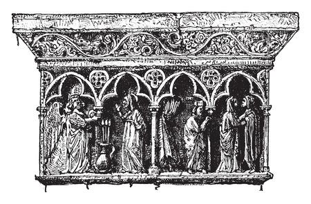 monasteries: Ornamental details cloister Elne, Pyrenees-Orientales, vintage engraved illustration. Industrial encyclopedia E.-O. Lami - 1875.