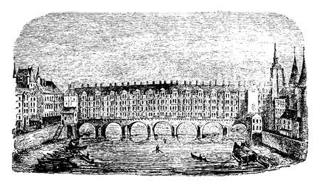 seine: The old bridge changers on the Seine in Paris, vintage engraved illustration. Industrial encyclopedia E.-O. Lami - 1875.
