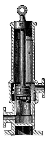 engineering tool: Section of the hot water pump of M. F. Carre, vintage engraved illustration. Industrial encyclopedia E.-O. Lami - 1875.