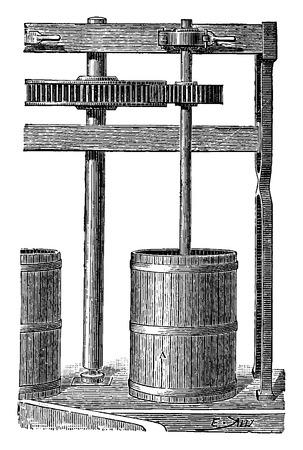 mills: Small grinding mills, vintage engraved illustration. Industrial encyclopedia E.-O. Lami - 1875. Illustration
