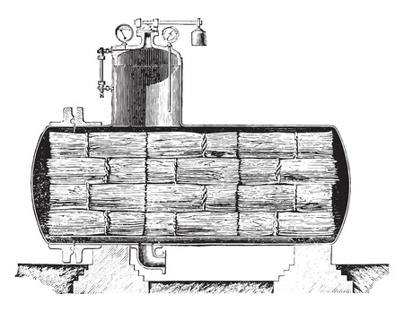flax: Dryer for retted flax Parsy system, vintage engraved illustration. Industrial encyclopedia E.-O. Lami - 1875. Illustration