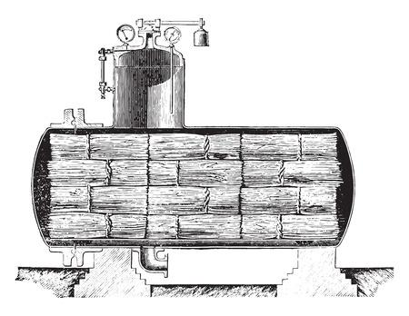 boiler: Dryer for retted flax Parsy system, vintage engraved illustration. Industrial encyclopedia E.-O. Lami - 1875. Illustration