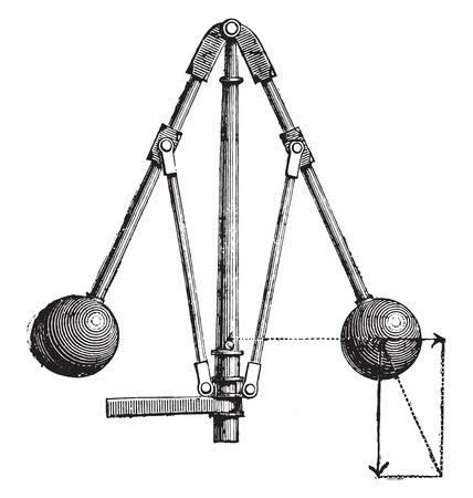 regulator: View of the Watt regulator, vintage engraved illustration. Industrial encyclopedia E.-O. Lami - 1875.