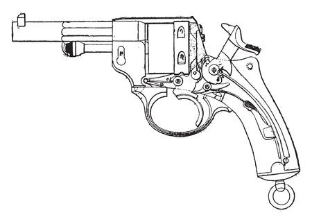 Gun-revolver, model 1873, View from the deck, vintage engraved illustration. Industrial encyclopedia E.-O. Lami - 1875.