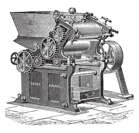 grinder: Laminator grinder, vintage engraved illustration. Industrial encyclopedia E.-O. Lami - 1875. Illustration
