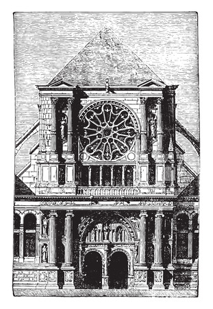 collegiate: St. Clotilde Andelys portal, vintage engraved illustration. Industrial encyclopedia E.-O. Lami - 1875.