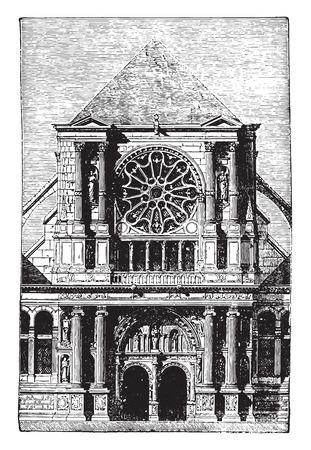 collegiate: St. Clotilde Andelys portal, vintage engraved illustration. Industrial encyclopedia E.-O. Lami - 1875.