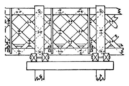 Houten brug van Pont Saint-Michel, vintage gegraveerde illustratie. Industrial encyclopedie E.-O. Lami - 1875.