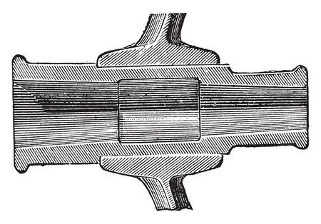 hub: Section de la bo�te de moyeu, illustration vintage grav�. E.-O. encyclop�die industrielle Lami - 1,875.