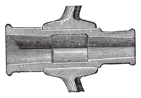 structure metal: Section of the hub box, vintage engraved illustration. Industrial encyclopedia E.-O. Lami - 1875.