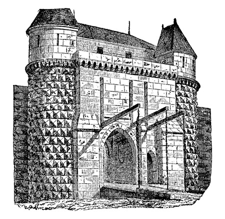Fortified gate with drawbridges, vintage engraved illustration. Industrial encyclopedia E.-O. Lami - 1875.
