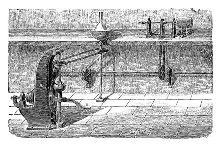 Lathe, vintage engraved illustration. Industrial encyclopedia E.-O. Lami - 1875.