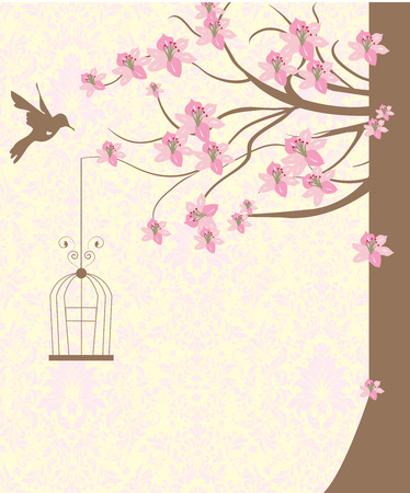 pink brown: Vintage invitation card with ornate elegant retro abstract floral design, light brown tree with pink flowers and leaves on pale yellow background with bird and text label. Vector illustration. Illustration