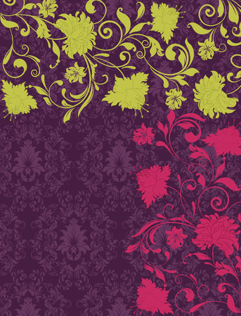 Vintage invitation card with ornate elegant retro abstract floral design, yellow green and radical red flowers and leaves on dark purple background. Vector illustration.