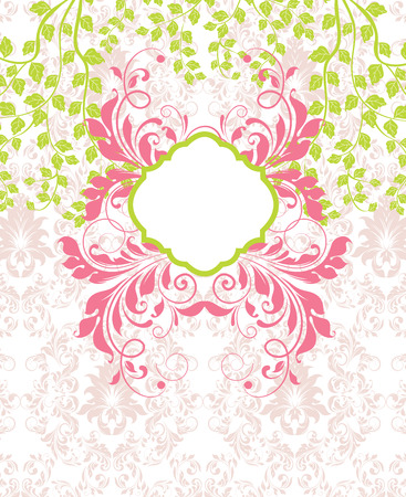 faded: Vintage invitation card with ornate elegant retro abstract floral design, candy pink and tellow green flowers and leaves on faded beige background with plaque text label. Vector illustration. Illustration
