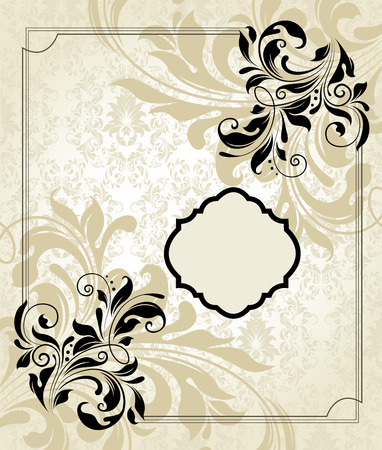 frame border: Vintage invitation card with ornate elegant retro abstract floral design, black flowers and leaves on pale yellow and white background with frame border. Vector illustration.