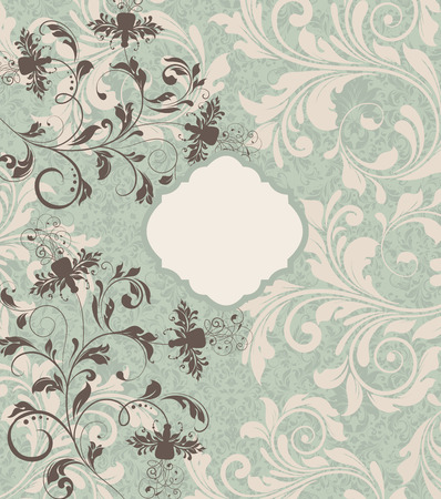 pale yellow: Vintage invitation card with ornate elegant retro abstract floral design, brownish gray and pale yellow flowers and leaves on snowy mint green background. Vector illustration.