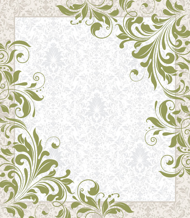 label frame: Vintage invitation card with ornate elegant retro abstract floral design, olive green flowers and leaves on faded green and white background with frame border and text label. Vector illustration. Illustration