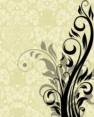 pale yellow: Vintage invitation card with ornate elegant retro abstract floral design, black and gray flowers and leaves on pale yellow green and white background with text label. Vector illustration.