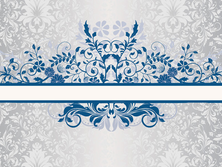 Vintage invitation card with ornate elegant retro abstract floral design, persian blue flowers and leaves on shiny silver background with ribbon label. Vector illustration.