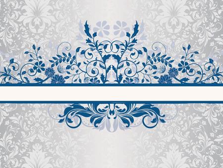 fondo elegante: tarjeta de invitación de la vendimia con el diseño adornado elegante retro abstracto floral, flores de color azul persa y hojas en el fondo de plata brillante con la etiqueta de la cinta. Ilustración del vector.