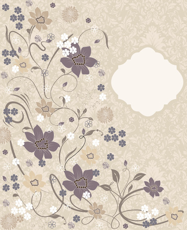 pale yellow: Vintage invitation card with ornate elegant retro abstract floral design, multi-colored flowers and leaves on pale yellow green background. Vector illustration.