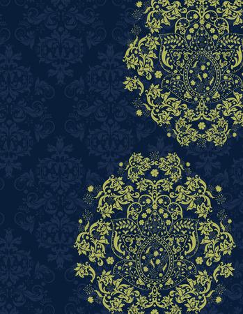 fondo elegante: Tarjeta de invitación de la vendimia con el diseño adornado elegante retro abstracto floral, flores amarillas y verdes hojas sobre fondo azul de medianoche con etiqueta de texto. Ilustración del vector.