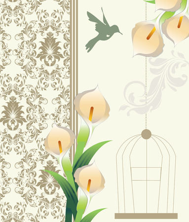 royal wedding: Vintage invitation card with ornate elegant retro abstract floral design, pale yellow orange flowers and green leaves on faded green and gray background with birds and text label. Vector illustration.