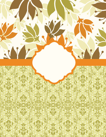 themes: Vintage invitation card with ornate elegant retro abstract floral design, orange brown and olive green flowers and leaves on pale yellow and white background with ribbon and plaque text label. Vector illustration. Illustration