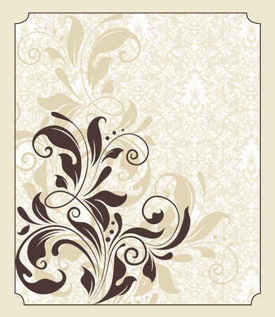Vintage invitation card with ornate elegant retro abstract floral design, chocolate brown flowers and leaves on faded yellow green background with frame border. Vector illustration.