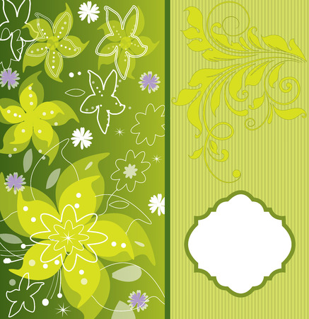Vintage invitation card with ornate elegant retro abstract floral design, pear yellow flowers and leaves on green and yellow background with stripes. Vector illustration.