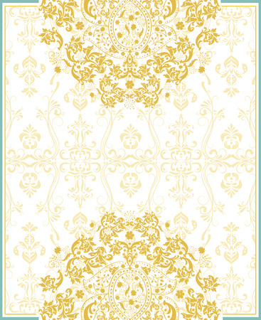 Vintage invitation card with ornate elegant retro abstract floral design, saffron yellow flowers and leaves on faded yellow on white background with frame border and text label. Vector illustration.