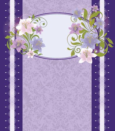 wedding border: Vintage invitation card with ornate elegant retro abstract floral design, pink violet and purple flowers and green leaves on blue violet background with border and text label. Vector illustration.
