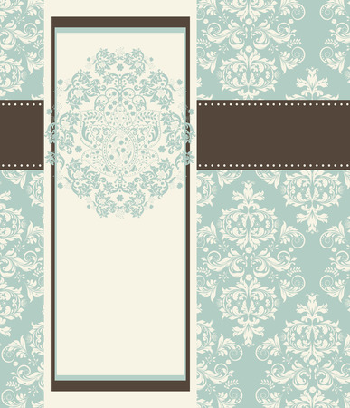 teal background: Vintage invitation card with ornate elegant retro abstract floral design, light teal flowers and leaves on white background with frame border and text label on white and light teal background with ribbon text label. Vector illustration.