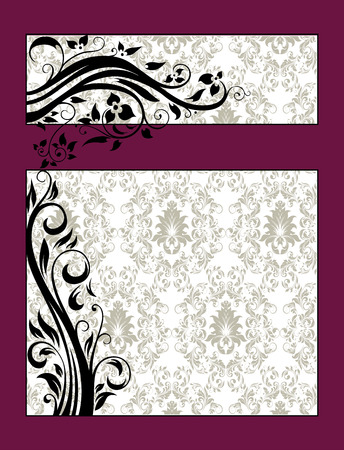 Vintage invitation card with ornate elegant retro abstract floral design, black flowers and leaves on pale green and white background with maroon frame borders and text label. Vector illustration. Illusztráció