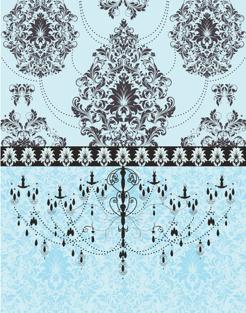 Vintage invitation card with ornate elegant retro abstract floral design, black flowers and leaves on pale blue background with ribbon and chandelier. Vector illustration. Illustration