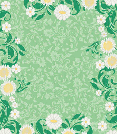 Vintage invitation card with ornate elegant retro abstract floral design, white and yellow flowers and green leaves on light green background with text label. Vector illustration. Ilustrace
