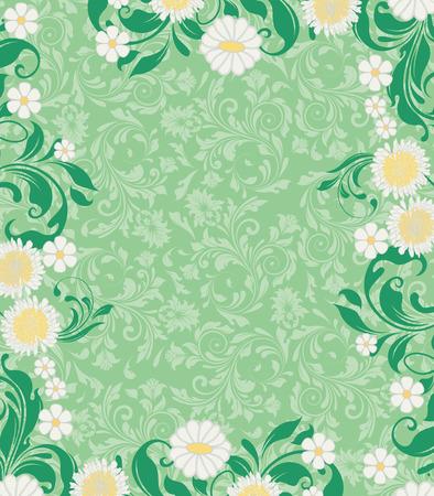 Vintage uitnodigingskaart met sierlijke elegante retro abstract floral design, witte en gele bloemen en groene bladeren op lichte groene achtergrond met tekst label. Vector illustratie.