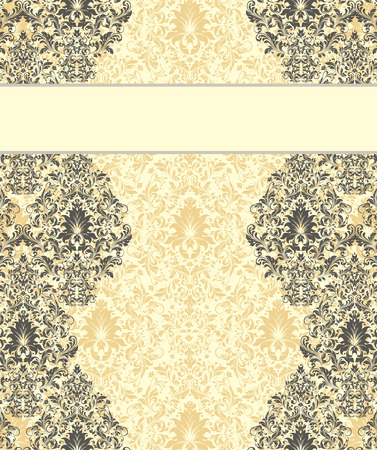 pale yellow: Vintage invitation card with ornate elegant retro abstract floral design, gray flowers and leaves on pale yellow and white background with ribbon text label. Vector illustration. Illustration