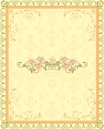 royal wedding: Vintage invitation card with ornate elegant retro abstract floral design, yellow orange and olive green flowers and leaves on light yellow background with frame border and text label. Vector illustration.