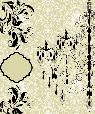 Vintage invitation card with ornate elegant retro abstract floral design, black flowers and leaves on yellow green background with chandelier and plaque text label. Vector illustration.