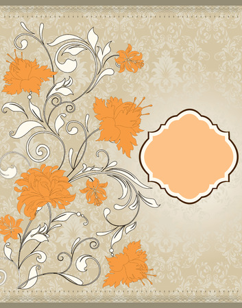 Vintage invitation card with ornate elegant retro abstract floral design, white and yellow orange flowers and leaves on beige background. Vector illustration.