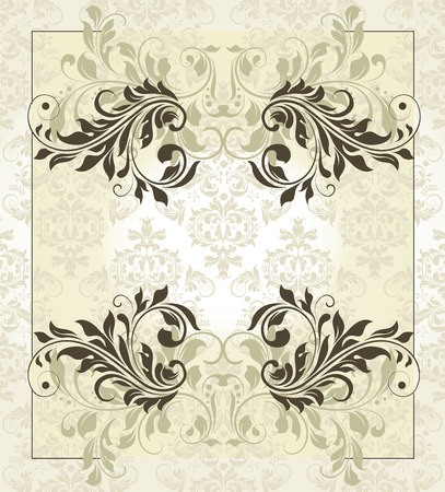 faded: Vintage invitation card with ornate elegant retro abstract floral design, olive green and light green flowers and leaves on faded yellow green background. Vector illustration.
